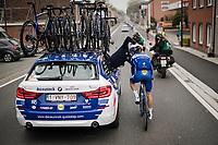 Julian ALAPHILIPPE (FRA/Deceuninck-Quick Step) fitted with a new ear-piece<br /> <br /> 59th De Brabantse Pijl - La Flèche Brabançonne 2019 (1.HC)<br /> One day race from Leuven to Overijse (BEL/196km)<br /> <br /> ©kramon