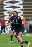 Action from the 2021 Takiwhitu Tuturu Sevens tournament match between All Blacks Sevens White and All Blacks Sevens Black at Hataitai Park in Wellington, New Zealand on Friday, 9 April 2021. Photo: Dave Lintott / lintottphoto.co.nz