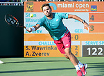 March 28 2017: Stanislas Wawrinka (SUI) loses to Alexander Zverev (GER) 6-4, 2-6, 1-6, at the Miami Open being played at Crandon Park Tennis Center in Miami, Key Biscayne, Florida. ©Karla Kinne/tennisclix/EQ