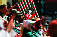 5th June 2021; Mattioli Woods Welford Road Stadium, Leicester, Midlands, England; Gallagher Premiership Rugby, Leicester Tigers versus Bristol Bears; A Leicester Tigers flag flies as the teams take to the pitch
