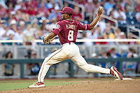 Florida State Seminoles pitcher JC Flowers (8) delivers a pitch to the plate during Game 2 of the NCAA College World Series against the Arkansas Razorbacks on June 15, 2019 at TD Ameritrade Park in Omaha, Nebraska. Florida State defeated Arkansas 1-0. (Andrew Woolley/Four Seam Images)