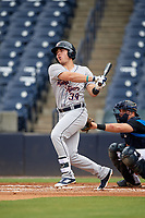 Lakeland Flying Tigers first baseman Dylan Burdeaux (34) at bat during the first game of a doubleheader against the Tampa Tarpons on May 31, 2018 at George M. Steinbrenner Field in Tampa, Florida.  Tampa defeated Lakeland 3-0.  (Mike Janes/Four Seam Images)