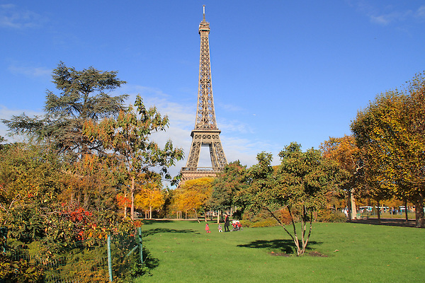 Family at Champ du Mars and Eiffel Tower, Autumn, Paris, France,