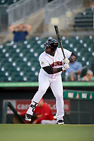 Jupiter Hammerheads first baseman Lazaro Alonso (44) at bat during a game against the Palm Beach Cardinals on August 4, 2018 at Roger Dean Chevrolet Stadium in Jupiter, Florida.  Palm Beach defeated Jupiter 7-6.  (Mike Janes/Four Seam Images)