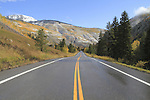 Highway and early autumn snow near Vail Colorado,