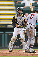 Bradenton Marauders catcher Endy Rodriguez (5) checks the runner during a game against the Jupiter Hammerheads on June 23, 2021 at LECOM Park in Bradenton, Florida.  (Mike Janes/Four Seam Images)