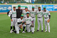 Clinton LumberKings (back row, L-R) Christopher Torres (2), Alberto Guerrero (41), Raul Brito (32), Manuel Rodriguez (23), Elkin Alcala (4), Samuel Castro (8), (kneeling, L-R) Thomas Jones (9), Marcos Rivera (1) pose for a photo before a Midwest League game against the Great Lakes Loons on July 19, 2019 at Dow Diamond in Midland, Michigan.  Clinton defeated Great Lakes 3-2.  (Mike Janes/Four Seam Images)