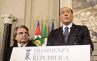 Italy's former Prime Minister and leader of Forza Italia Silvio Berlusconi (R) speaks, flanked by Forza Italia party's members Renato Brunetta (L),  at the end of his  consultations  with Italian President Sergio Mattarella at the Quirinale Palace, on December 10, 2016.<br /> UPDATE IMAGES PRESS/IsabellaBonotto