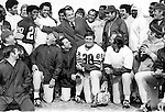 37th President of the United States Richard M. Nixon with Washington Redskins and Coach George Allan National Football League, Richard Nixon was born in Yorba Linda California and attended Whittier College and Duke University law school, US Navy House of Representatives and United States Senate, Vice President under Dwight D. Eisenhower, Impeachment for his role in Watergate scandal,