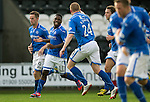St Mirren v St Johnstone...19.10.13      SPFL<br /> Nigel Hasselbaink celebrates his goal<br /> Picture by Graeme Hart.<br /> Copyright Perthshire Picture Agency<br /> Tel: 01738 623350  Mobile: 07990 594431