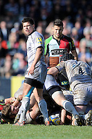 Ben Youngs of Leicester Tigers (left) and Danny Care of Harlequins during the Aviva Premiership match between Harlequins and Leicester Tigers at The Twickenham Stoop on Saturday 21st April 2012 (Photo by Rob Munro)