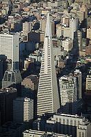 aerial photograph Transamerica Pyramid skyscrapers San Francisco