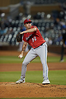 Jacksonville Jumbo Shrimp relief pitcher Zach Thompson (32) in action against the Durham Bulls at Durham Bulls Athletic Park on May 15, 2021 in Durham, North Carolina. (Brian Westerholt/Four Seam Images)