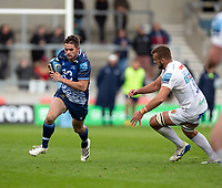3rd October 2021; AJ Bell stadium, Eccles, Greater Manchester, England: Gallagher Premiership Rugby, Sale v Exeter ;   Luke James of Sale Sharks carries under pressure from  Sean Lonsdale of Exeter Chiefs