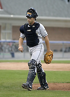 July 26, 2004:  Catcher Wyatt Toregas of the Mahoning Valley Scrappers, Short-Season Low-A NY-Penn League affiliate of the Cleveland Indians, during a game at Dwyer Stadium in Batavia, NY.  Photo by:  Mike Janes/Four Seam Images