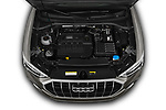 High angle detail view of 2019 Audi Q3 S-line 5 Door SUV Engine