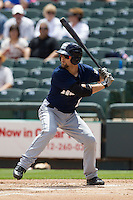 New Orleans Zephyrs outfielder Bryan Petersen #11 at bat against the Round Rock Express in the Pacific Coast League baseball game on April 21, 2013 at the Dell Diamond in Round Rock, Texas. Round Rock defeated New Orleans 7-1. (Andrew Woolley/Four Seam Images).