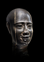 Ancient Egyptian statue bust of a male, graanodiorite, Late Period, (722-322 BC). Egyptian Museum, Turin. Grey background.  black background. Drovetti collection. Cat 3139