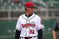 Lansing Lugnuts manager Scott Steinmann (33) during a weather delay before a game against the West Michigan Whitecaps on August 24, 2021 at Jackson Field in Lansing, Michigan.  (Mike Janes/Four Seam Images)
