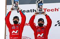 #33 Bryan Herta Autosport w/ Curb Agajanian Hyundai Veloster N TCR, TCR: Gabby Chaves, Ryan Norman, podium