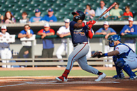 Mississippi Braves left fielder Trey Harris (22) at bat against the Tennessee Smokies at Smokies Stadium on July 15, 2021, in Kodak, Tennessee. (Danny Parker/Four Seam Images)