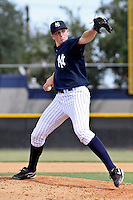 September 30, 2009:  Pitcher Sean Black of the New York Yankees organization delivers a pitch during an Instructional League game at Yankees Training Complex in Tampa, FL.  Black was selected by New York Yankees in 7th Round (225th overall) of 2009 MLB amateur entry draft.  Photo By Mark LoMoglio/Four Seam Images