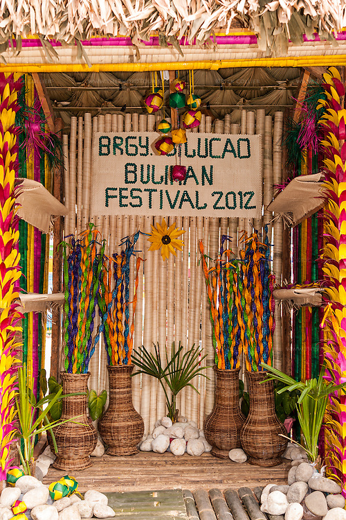 One of several stands decorated exclusively with buri, set up in Sampaloc's municipal plaza for the Bulihan Festival 2012.
