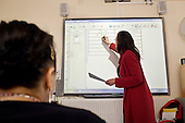 Numeracy class at Nova New Opportunities, in Ladbroke Grove, North Kensington, which provides ESOL, IT and numeracy training, and employment adivice.  The area is home to a high proportion of recently arrived immigrants.