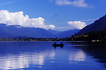 Fishermen on Lake Quinault, Olympic Penninsula, Washington.  View looks toward upper end of Lake with Olympic National Park wilderness in background. Olympic Peninsula