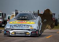 Apr 13, 2019; Baytown, TX, USA; NHRA funny car driver Matt Hagan during qualifying for the Springnationals at Houston Raceway Park. Mandatory Credit: Mark J. Rebilas-USA TODAY Sports