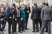 Anlaesslich der Teilnahme von Bundeskanzlerin Angela Merkel (CDU) und dem griechischen Ministerpraesident Kyriakos Mitsotakis, am Wirtschaftsforum in Berlin am Montag den 9. Maerz 2020 protestierten ca. 150 Menschen vor der Veranstaltung fuer eine Oeffnung der EU-Grenzen und die Aufnahme der Fluechtlinge, die von der griechischen Regierung mit Waffengewalt an einer Einreise gehindert werden.<br /> Im Bild: Bundeskanzlerin Merkel (Bildmitte im blauen Blazer) und der griechische Ministerpraesident Kyriakos Mitsotakis (rechts neben Merkel) werden vor dem Wirtschaftsforum begruesst.<br /> 9.3.2020, Berlin<br /> Copyright: Christian-Ditsch.de<br /> [NUR FUER REDAKTIONELLE ZWECKE! Werbung nur auf Anfrage beim Fotografen. Inhaltsveraendernde Manipulation des Fotos nur nach ausdruecklicher Genehmigung des Fotografen. Vereinbarungen ueber Abtretung von Persoenlichkeitsrechten/Model Release der abgebildeten Person/Personen liegen nicht vor. NO MODEL RELEASE! Don't publish without copyright Christian-Ditsch.de, Veroeffentlichung nur mit Fotografennennung, sowie gegen Honorar, MwSt. und Beleg. Konto: I N G - D i B a, IBAN DE58500105175400192269, BIC INGDDEFFXXX, Kontakt: post@christian-ditsch.de<br /> Bei der Bearbeitung der Dateiinformationen darf die Urheberkennzeichnung in den EXIF- und  IPTC-Daten nicht entfernt werden, diese sind in digitalen Medien nach §95c UrhG rechtlich geschuetzt. Der Urhebervermerk wird gemaess §13 UrhG verlangt.]