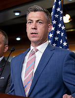 United States Representative Jim Banks (Republican of Indiana), right, makes remarks at a hastily called press conference where US House Minority Leader Kevin McCarthy (Republican of California) announced he is withdrawing all of his GOP appointees from the January 6 Commission, in the US Capitol in Washington, DC on Wednesday, July 21, 2021.  <br /> Credit: Rod Lamkey / CNP /MediaPunch