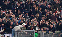Calcio, andata dei sedicesimi di finale di Europa League: Roma vs Feyenoord. Roma, stadio Olimpico, 19 febbraio 2015.<br /> Feyenoord's Lex Immers celebrates with fans after scoring during the Europa League round of 32 first leg football match between AS Roma and Feyenoord at Rome's Olympic stadium, 25 February 2015.<br /> UPDATE IMAGES PRESS/Riccardo De Luca