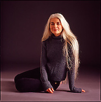 Studio portrait of older woman<br />