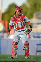 Auburn Doubledays catcher Alex Marquez (15) during a game against the Batavia Muckdogs on August 27, 2014 at Dwyer Stadium in Batavia, New York.  Auburn defeated Batavia 6-4.  (Mike Janes/Four Seam Images)
