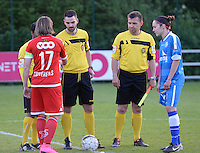20160513 - LIEGE , BELGIUM : captains Maud Coutereels (left) and Elien Van Wynendaele (right) pictured with referees Kevin Sanglier (middle) and his assistants Yves Thomas and James Defays during a soccer match between the women teams of  Standard Femina De Liege and KAA Gent Ladies , during the fifth matchday in the SUPERLEAGUE Playoff 1 , Friday 13 May 2016 . PHOTO SPORTPIX.BE / DAVID CATRY