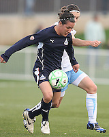 Lisa De Vanna (17) of the Washington Freedom battles with Karen Carney (14) of the Chicago Red Stars during a WPS match at Maryland Soccerplex on April 11 2009, in Boyd's, Maryland.  The game ended in a 1-1 tie.