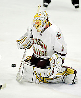 12 November 2010: Boston College Eagle goaltender John Muse, a Senior from East Falmouth, MA, in action against the University of Vermont Catamounts at Gutterson Fieldhouse in Burlington, Vermont. The Eagles edged out the Cats 3-2 in the first game of their weekend series. Mandatory Credit: Ed Wolfstein Photo