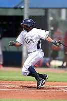 GCL Rays designated hitter James Harris (28) at bat during a game against the GCL Red Sox on June 24, 2014 at Charlotte Sports Park in Port Charlotte, Florida.  GCL Red Sox defeated the GCL Rays 5-3.  (Mike Janes/Four Seam Images)