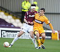 31/10/2009  Copyright  Pic : James Stewart.sct_jspa08_motherwell_v_hearts  . :: RUBEN PALAZUELOS IS CHALLENGED BY JOHN SUTTON :: .James Stewart Photography 19 Carronlea Drive, Falkirk. FK2 8DN      Vat Reg No. 607 6932 25.Telephone      : +44 (0)1324 570291 .Mobile              : +44 (0)7721 416997.E-mail  :  jim@jspa.co.uk.If you require further information then contact Jim Stewart on any of the numbers above.........