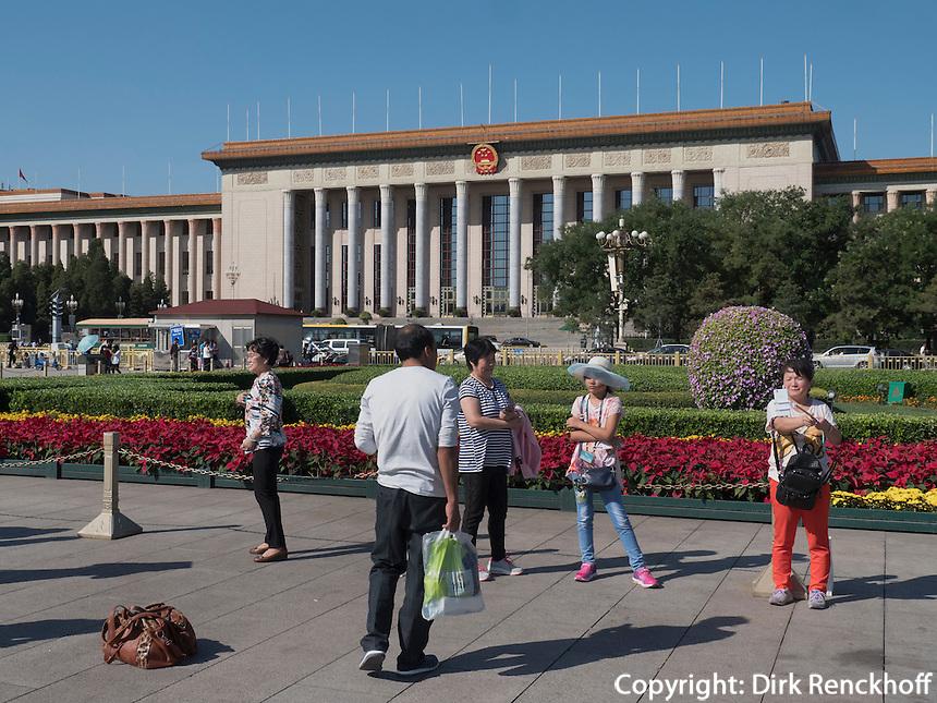 Volkskongresshalle auf em TianAnMen-Platz, Peking, China, Asien<br /> National people's Congresshall on TianAnMen square, Beijing, China, Asia