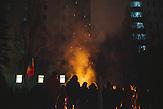 Demonstranten verbrennen Holz, um sich zu wärmen. Zehntausende demonstrieren gegen die neue Regierung in Chisinau, Republik Moldau. / <br />Protesters burn woods to bask themselves. Tens of thousands protest against the new government in Chisinau, Republic of Moldova.