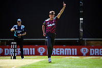 Brett Randell celebrates dismissing Bayley Wiggins during the men's Dream11 Super Smash T20 cricket match between the Central Stags and Northern Knights at Pukekura Park in New Plymouth, New Zealand on Wednesday, 30 December 2020. Photo: Dave Lintott / lintottphoto.co.nz