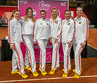 The Hague, The Netherlands, Februari 6, 2020,    Sportcampus, FedCup  Netherlands -  Balarus, Team Balarus in wooden shoes.<br /> Photo: Tennisimages/Henk Koster
