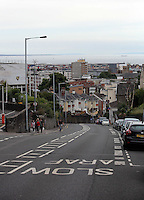 Pictured: The empty Mount Pleasant Road in Swansea, which is usually busy with traffic during rush hour Wednesday 06 July 2016<br />Re: Empty street in central Swansea, during rush hour, before the UEFA Euro 2016 Portugal v Wales semi-final