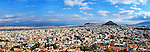 Panoramic view of Athens & Lycabettus Hill in Greece<br /> <br /> Image taken on large format panoramic 6cm x 17cm transparency. Available for licencing and printing. email us at contact@widescenes.com for pricing.