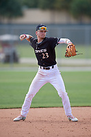 Kurtis Reid (23) during the WWBA World Championship at the Roger Dean Complex on October 13, 2019 in Jupiter, Florida.  Kurtis Reid attends Hamilton High School in Hamilton, OH and is committed to Louisville.  (Mike Janes/Four Seam Images)