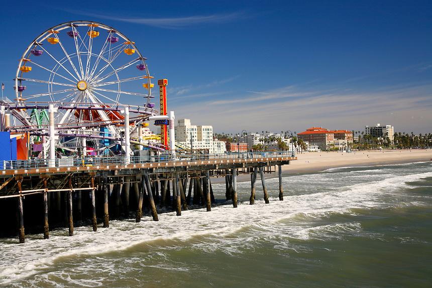 Amusement park on the Santa Monica Pier, Los Angeles area, California