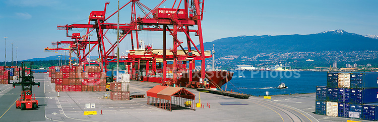 Vancouver, BC, British Columbia, Canada - Container Terminal at Port of Vancouver Harbour Waterfront - Panoramic View