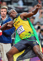 August 05, 2012: Usain Bolts celebrates after winning men's 100m dash by setting a new Olympic record at the Olympic Stadium on day nine of 2012 Olympic Games in London, United Kingdom.